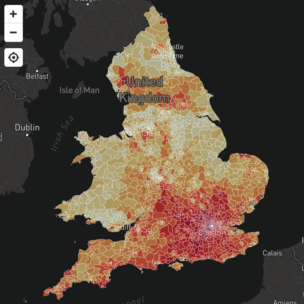 Map Of England 2100.House Prices By Square Metre In England Wales